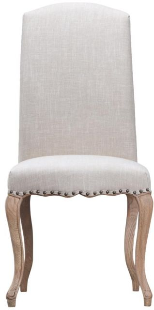 Beige Luxury Chair with Studs and Carved Oak Legs