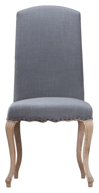 Grey Luxury Chair with Studs and Carved Oak Legs