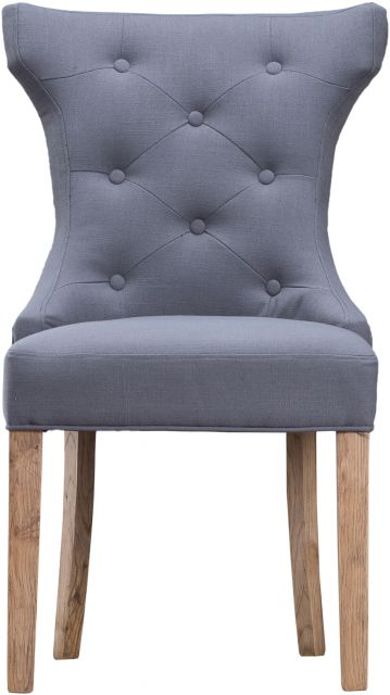 Grey Winged Button Back Chair with Metal Ring