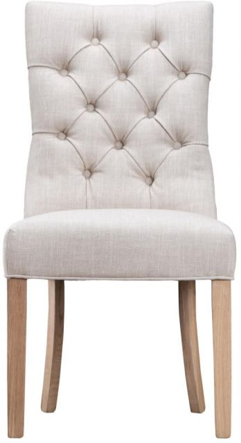 Beige Curved Button Back Chair