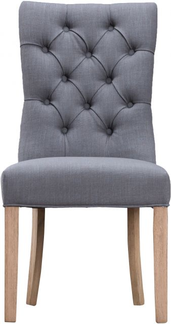 Grey Curved Button Back Chair
