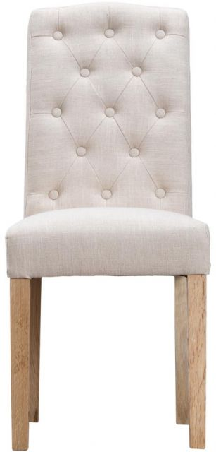Beige Button Back Upholstered Chair