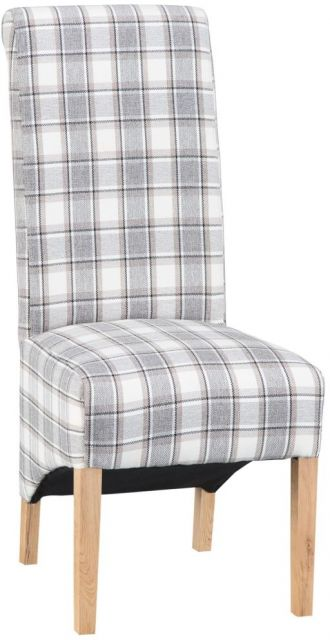 Scroll Back Chair - Cappucino Check