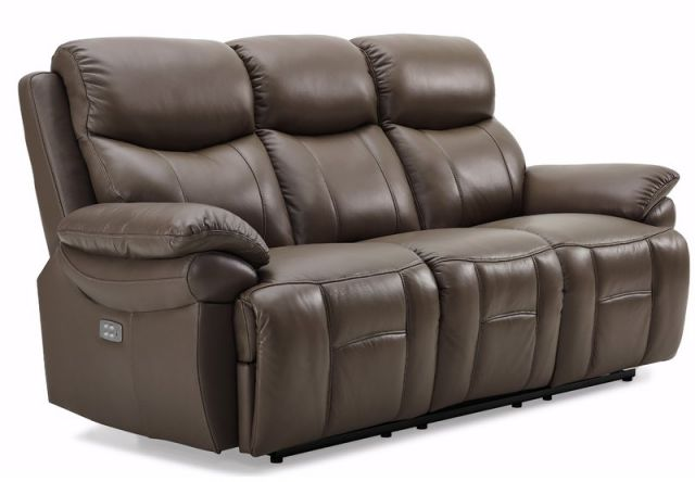 Edgar - 3 Seat Powered Recliner (With Power Headrest) Leather/Bonded