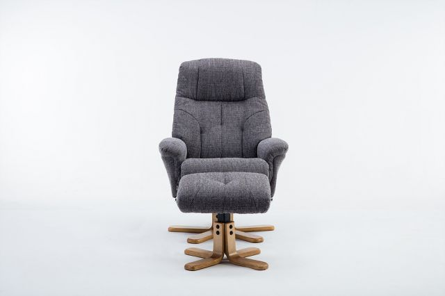 Brilliant Wexford Swivel Recliner Chair Footstool Fabric Lisbon Grey Creativecarmelina Interior Chair Design Creativecarmelinacom