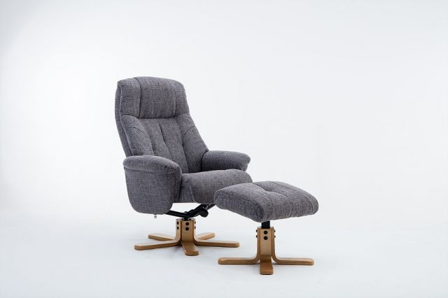 Wexford - Swivel Recliner Chair & Footstool  Fabric - Lisbon Grey