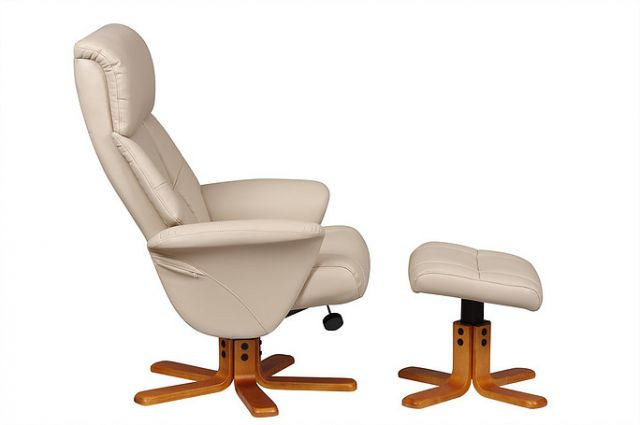 Singapore - Swivel Recliner Chair & Footstool  Faux leather Cafe Latte