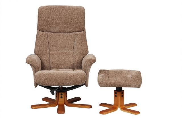 Singapore - Swivel Recliner Chair & Footstool  Fabric Mink