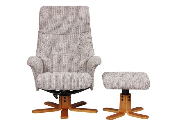Singapore - Swivel Recliner Chair & Footstool  Fabric Wheat