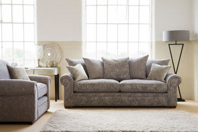 PK Amersham Grand Sofa- Formal Back Fabric A includes 2 standard scatter cushions