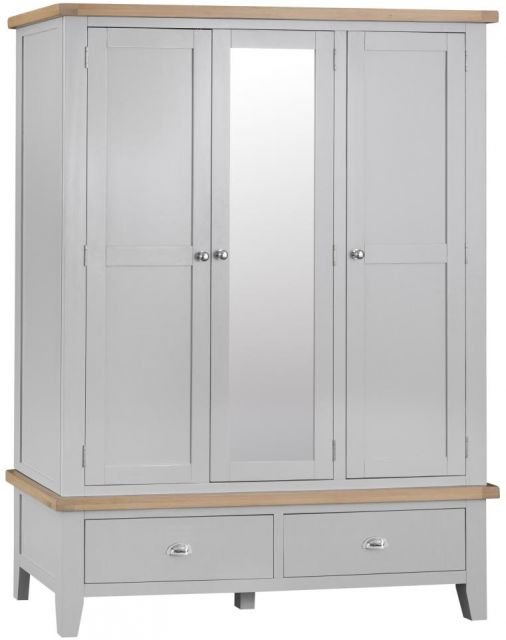 Padstow Large 3 Door Wardrobe GREY
