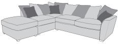 Barcelona Collection Corner Chaise Settee 2 Piece P+LFC+R2  Inc Footstool Pillow Back A Range Fabric