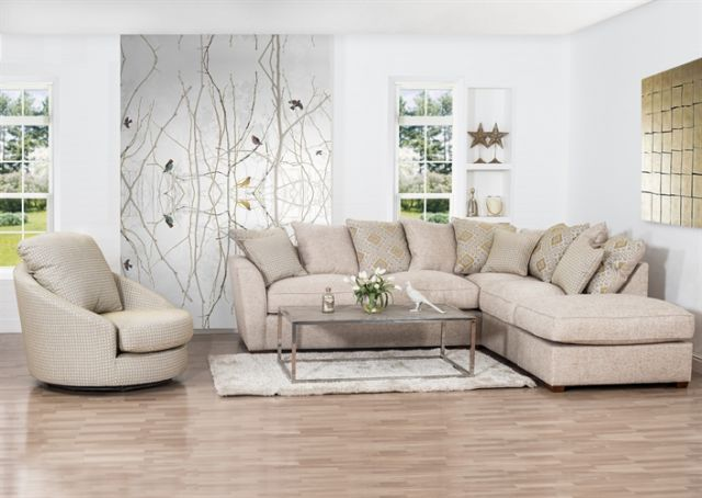 Barcelona Collection Corner Chaise Settee Standard Sofa Bed 2 Piece L2+RFC+P  Inc Footstool Pillow B