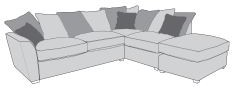 Barcelona Collection Corner Chaise Settee 2 Piece L2+RFC+P  Inc Footstool Pillow Back A Range Fabric