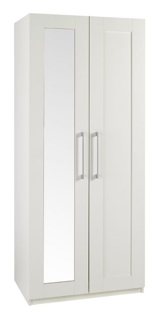 Argent Bedroom Collection Short Height 2 Door Wardrobe With Mirror