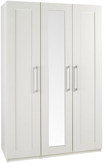 Argent Bedroom Collection Short Height 3 Door Wardrobe With Mirror