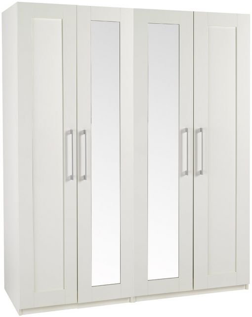 Argent Bedroom Collection Tall Height 4 Door Wardrobe With 2 Mirror