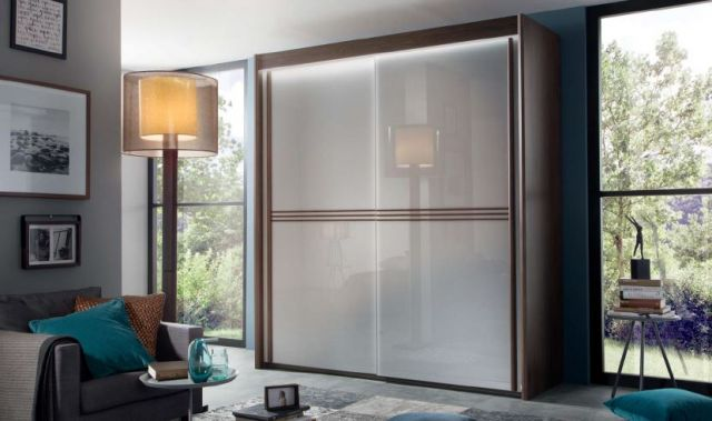Zeus Bedroom Collection With Lights 151cm Wide 1 Carcase Colour / 1 Mirrored Door Wardobe 223cm High