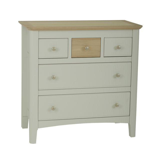 Aria Bedroom Collection Chest of 5 drawers (2+3) Morning Dew/Haze Oil Top