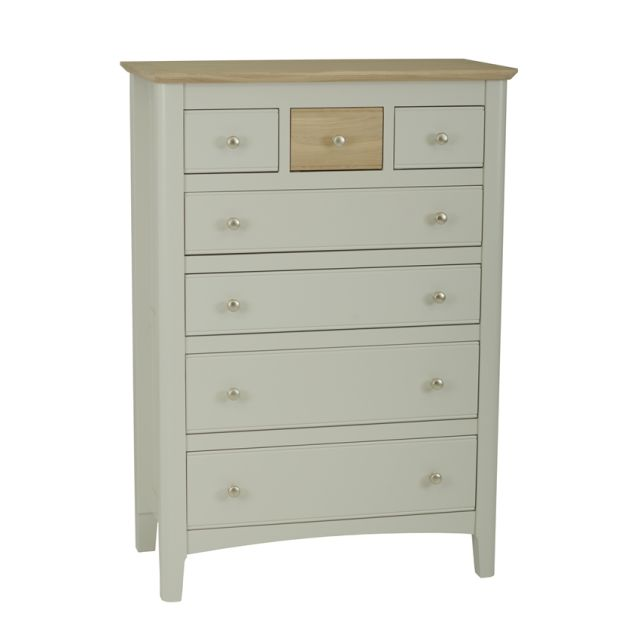 Aria Bedroom Collection Chest of 7 drawers (4+3) Morning Dew/Haze Oil Top