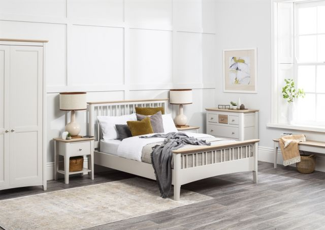Aria Bedroom Collection Slat bed - Double size Morning Dew/Haze Oil Top