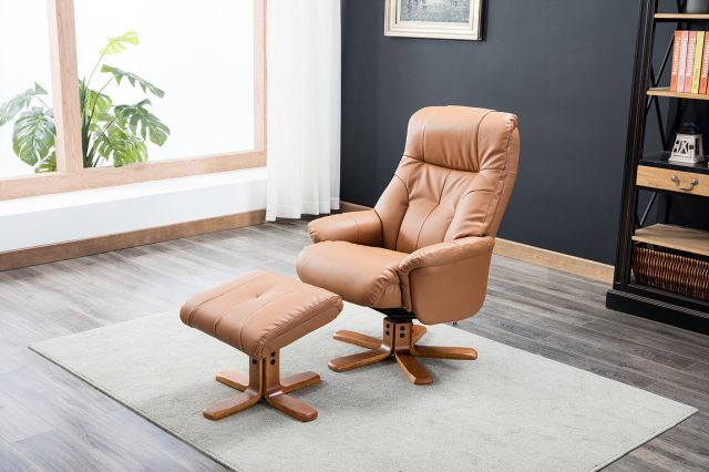 Swivel Recliner Chair & Footstool   Faux Leather - Tan Plush