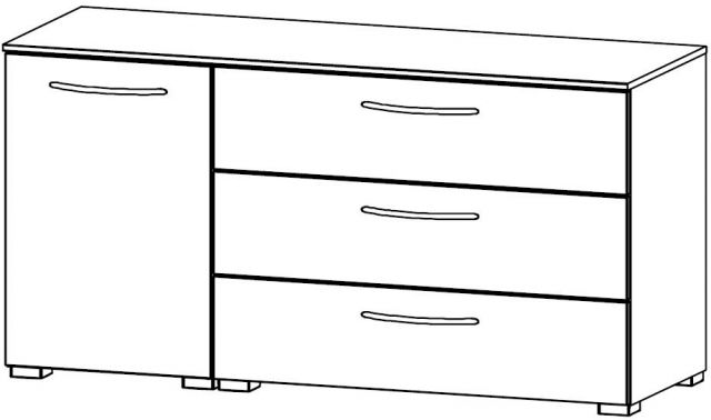 Java Chest Collection 1 LH Door Cupboard / 3 Wide Drawer 120cm Wide Carcase Colour Front