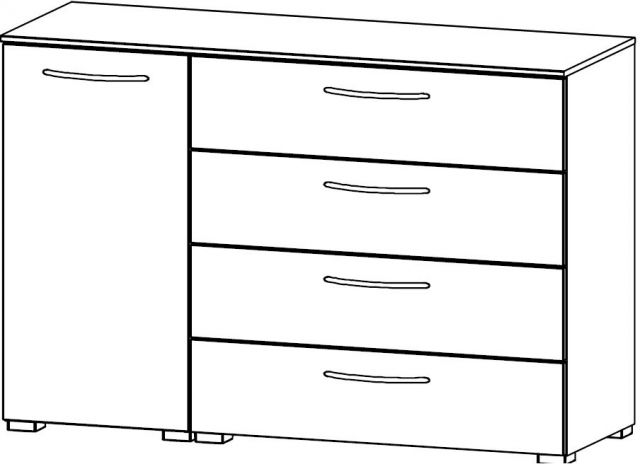 Java Chest Collection 1 LH Door Cupboard / 4 Wide Drawer 120cm Wide Carcase Colour Front
