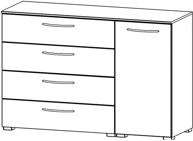 Java Chest Collection 1 RH Door Cupboard / 4 Wide Drawer 120cm Wide Carcase Colour Front