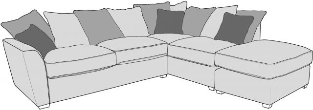 Venus Sofa Collection Corner Settee 2 Piece LHF Chaise/RHF Arm - Including Footstool Fabric - D Rang