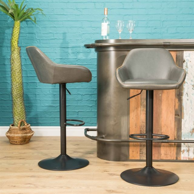 Stylebook Collection Chevy Gas Lift Barstool Grey SET OF 2