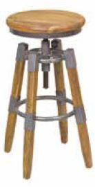 Stylebook Collection Wood & Metal Square Leg Swivel Stool