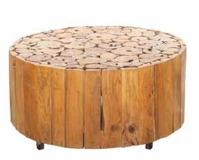 Stylebook Collection Natural Teak Root Disc Coffee Table on Wheels