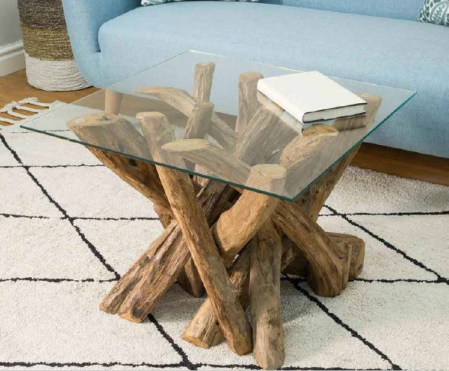 Stylebook Collection Natural Teak Root Console Table with Glass Top