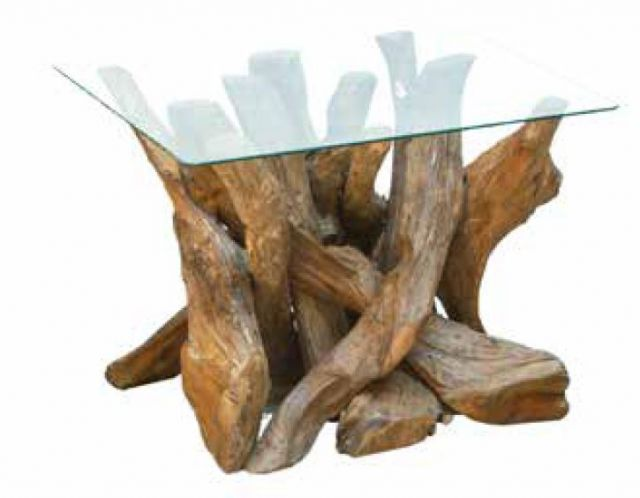 Stylebook Collection Natural Teak Root Square Coffee Table with Glass Top