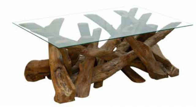 Stylebook Collection Natural Teak Root Rectangular Coffee Table with Glass Top