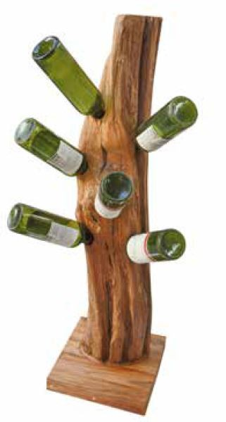 Stylebook Collection Natural Teak Root Freestanding Wine Rack 6 bottles
