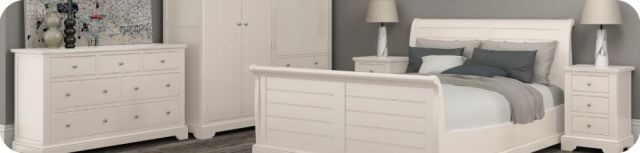 Stalham Bedroom Collection Kingsize Panelled Bedstead White