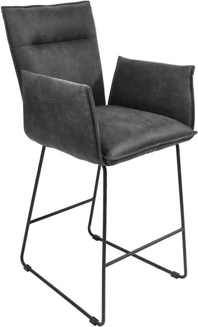 Gratton Collection Bar Stool with Arms Grey Suede