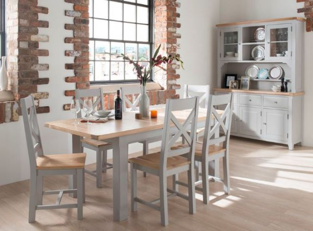 Padstow Grey Dining Collection Grey Round Butterfly Extending Table