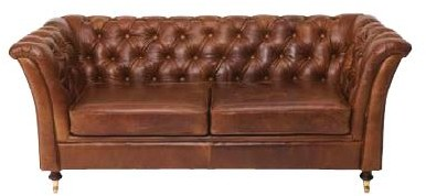 Country Collection Ceasar 2 Seater Settee - Brown Cerato Leather