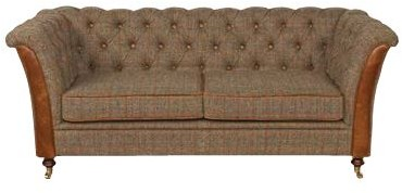 Country Collection Ceasar 2 Seater Settee - Harris Tweed Gamekeeper Thorn & Brown Cerato Leather