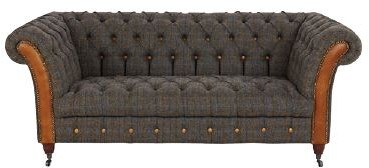 Country Collection Bretby 2 Seater Settee - Harris Tweed Uist Night & Brown Cerato Buttons & Ar