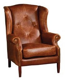 Country Collection Wing Button Chair - Brown Cerato Leather