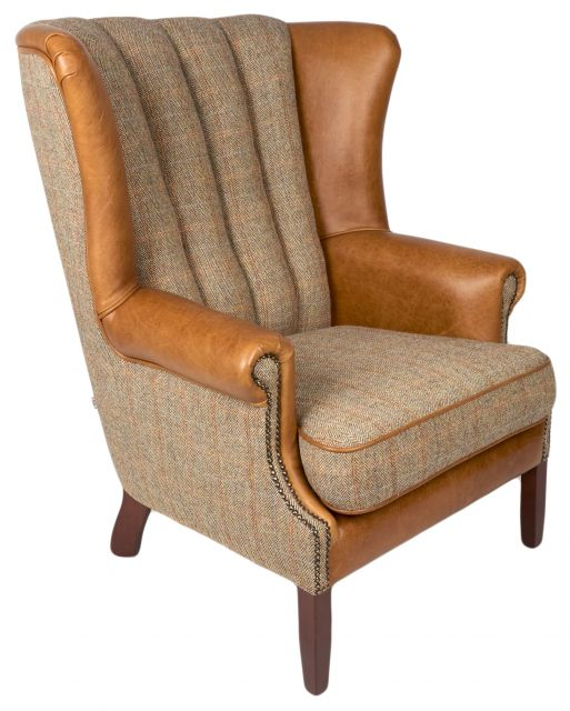 Country Collection Fluted Wing Chair - Harris Tweed Gamekeeper Thorn & Brown Cerato Wings Front Pl