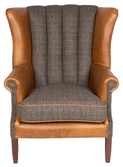 Country Collection Fluted Wing Chair - Harris Tweed Uist Night Out & Brown Cerato Wings Front Plat
