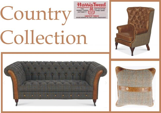 Country Collection Wing Wrap Chair - Brown Cerato Leather & Piping & Harris Tweed Gamekeeper Thorn