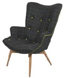Country Collection Kirk Chair - Richmond Check Charcoal Multi/Spectrum Picadilly Piping & Buttons