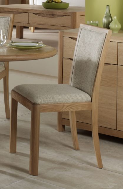 Braemer Dining Collection Upholstered Back Chair Natural Fabric