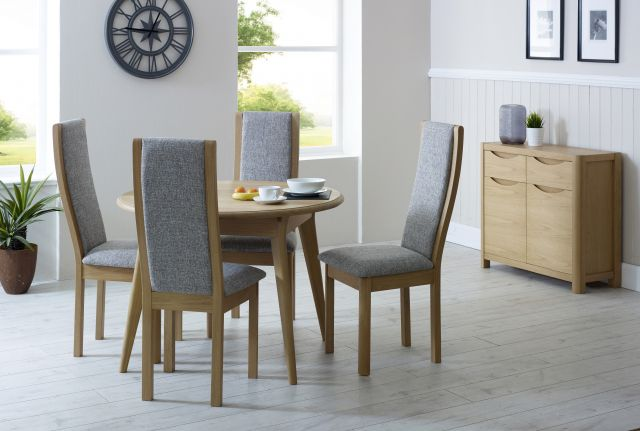 Braemer Dining Collection High Back Chair Beige Fabric